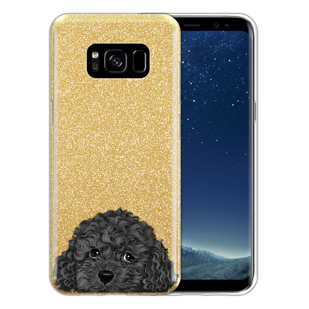 Hybrid Gold Glitter Clear Fusion Gray Toy Poodle Protector Cover Case for Samsung Galaxy S8 G950