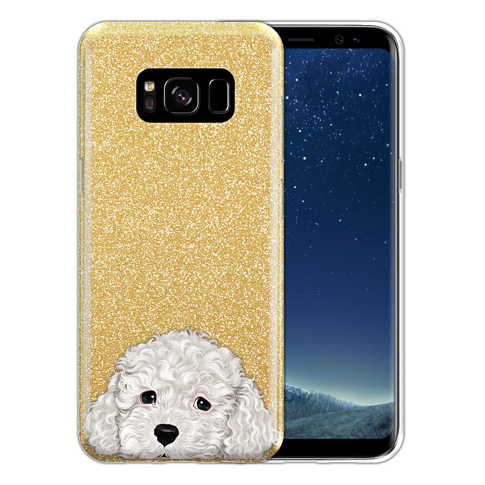 Hybrid Gold Glitter Clear Fusion White Toy Poodle Protector Cover Case for Samsung Galaxy S8 G950
