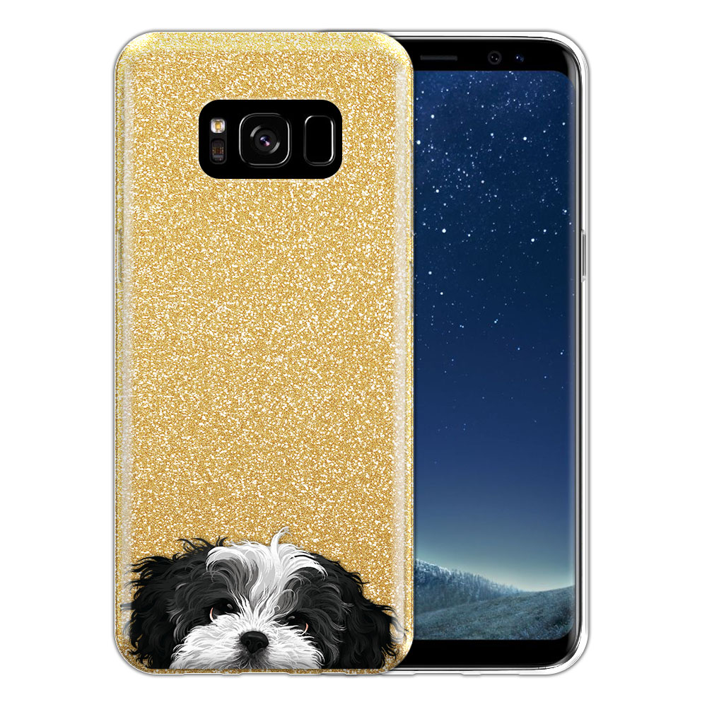 Hybrid Gold Glitter Clear Fusion Black White Shih Tzu Protector Cover Case for Samsung Galaxy S8 G950