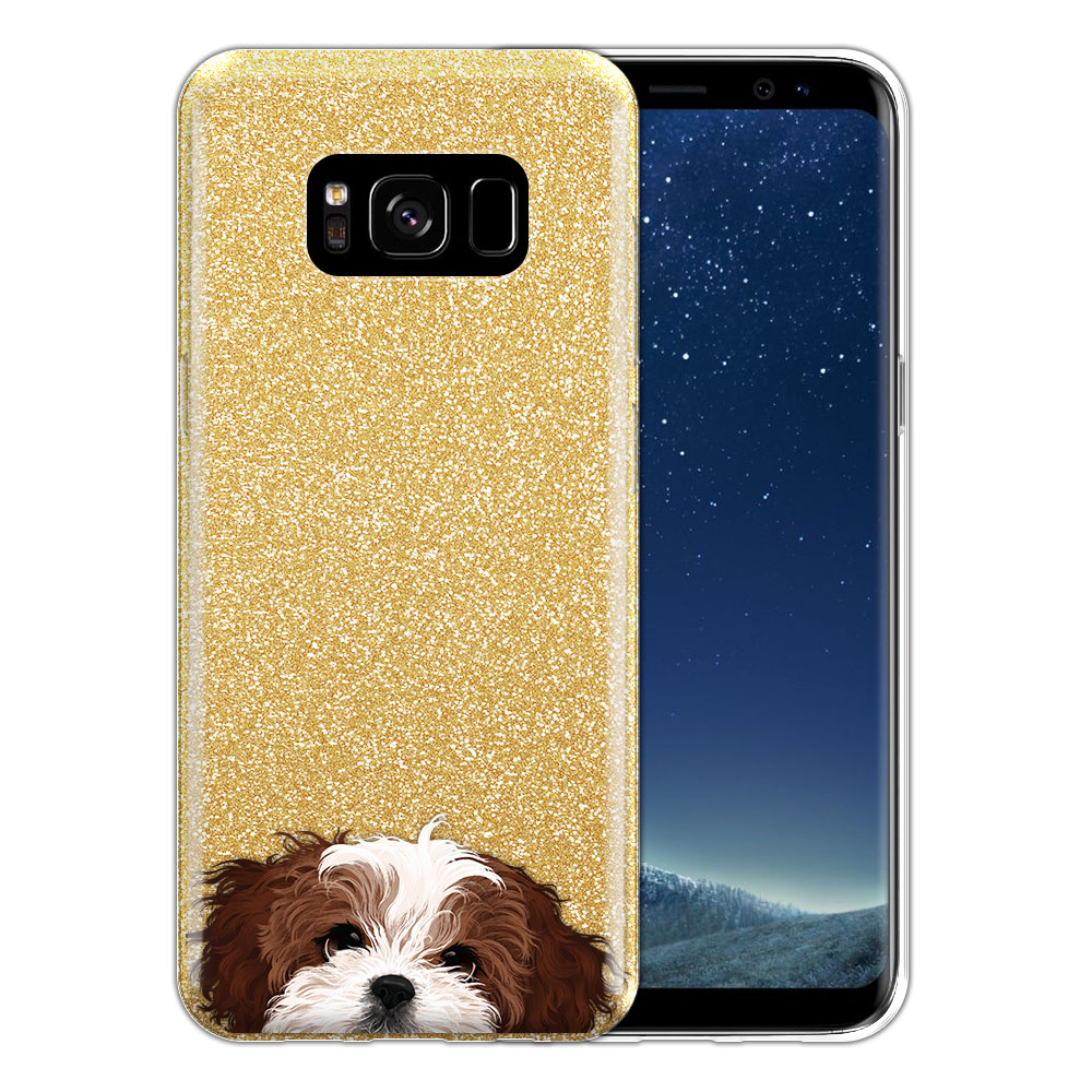 Hybrid Gold Glitter Clear Fusion Brown White Shih Tzu Protector Cover Case for Samsung Galaxy S8 G950