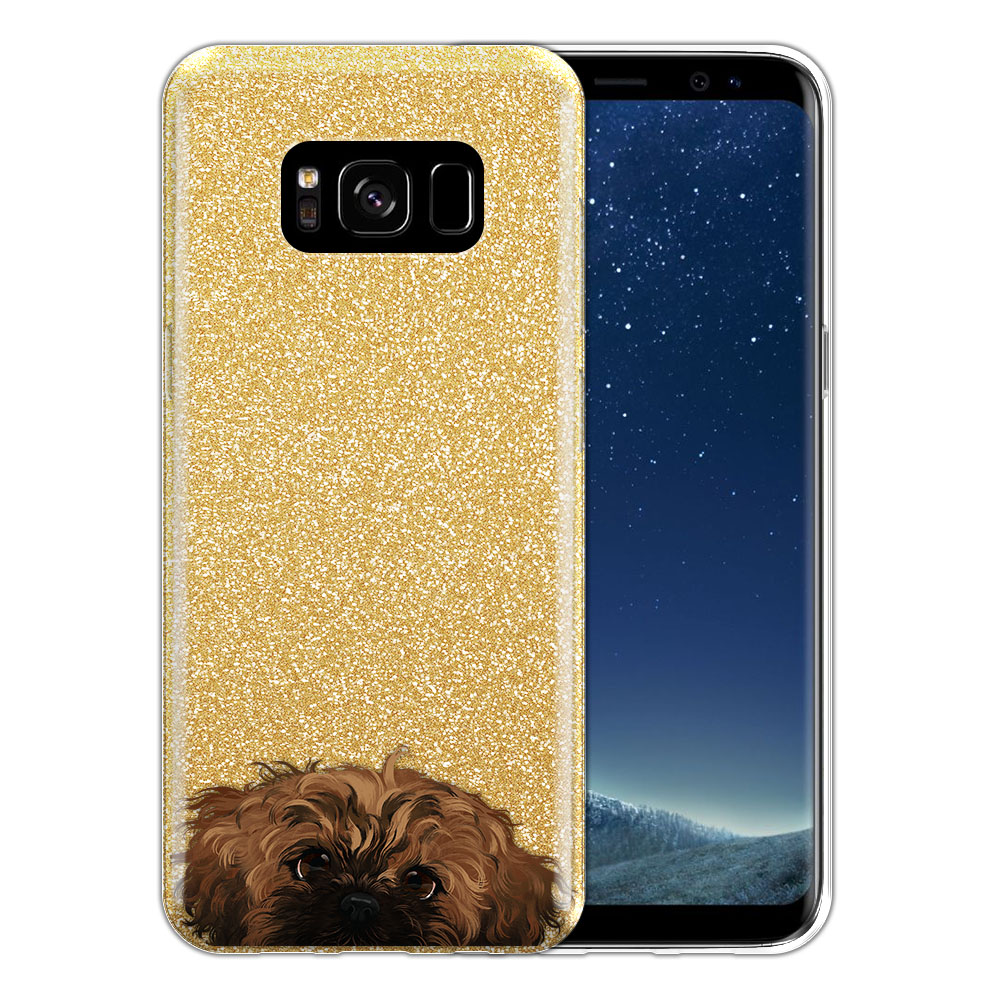 Hybrid Gold Glitter Clear Fusion Fawn Black Mask Shih Tzu Protector Cover Case for Samsung Galaxy S8 G950