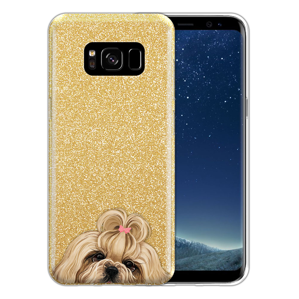 Hybrid Gold Glitter Clear Fusion Gold White Shih Tzu Protector Cover Case for Samsung Galaxy S8 G950