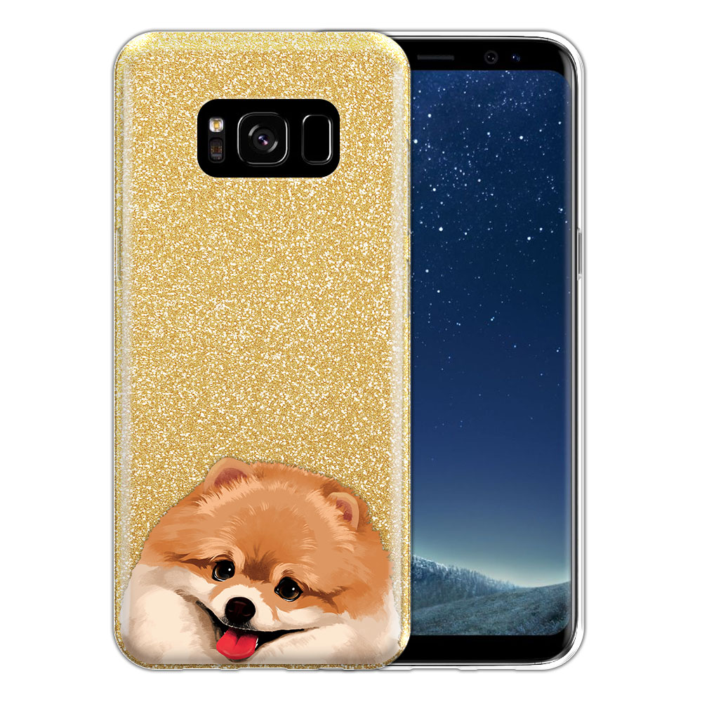 Hybrid Gold Glitter Clear Fusion Fawn Pomeranian Protector Cover Case for Samsung Galaxy S8 G950