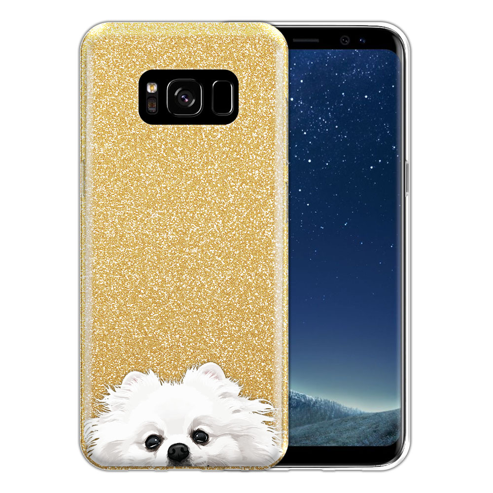 Hybrid Gold Glitter Clear Fusion White Teacup Pomeranian Protector Cover Case for Samsung Galaxy S8 G950