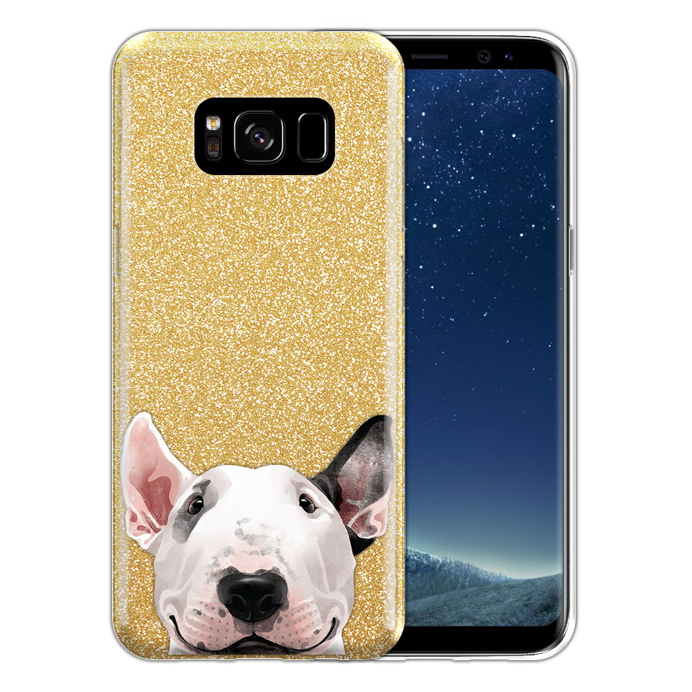 Hybrid Gold Glitter Clear Fusion Bull Terrier Protector Cover Case for Samsung Galaxy S8 G950