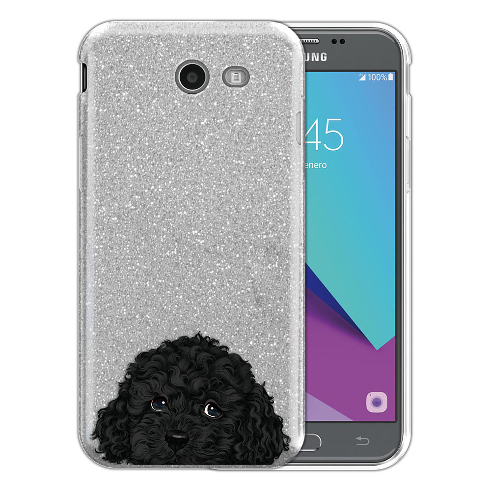 Hybrid Silver Glitter Clear Fusion Black Toy Poodle Protector Cover Case for Samsung Galaxy J3 J327 2017 2nd Gen Galaxy J3 Emerge (Not fit for J3 2016, J3 Pro 2017)
