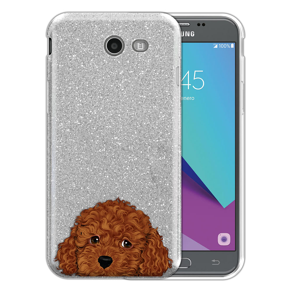 Hybrid Silver Glitter Clear Fusion Brown Toy Poodle Protector Cover Case for Samsung Galaxy J3 J327 2017 2nd Gen Galaxy J3 Emerge (Not fit for J3 2016, J3 Pro 2017)