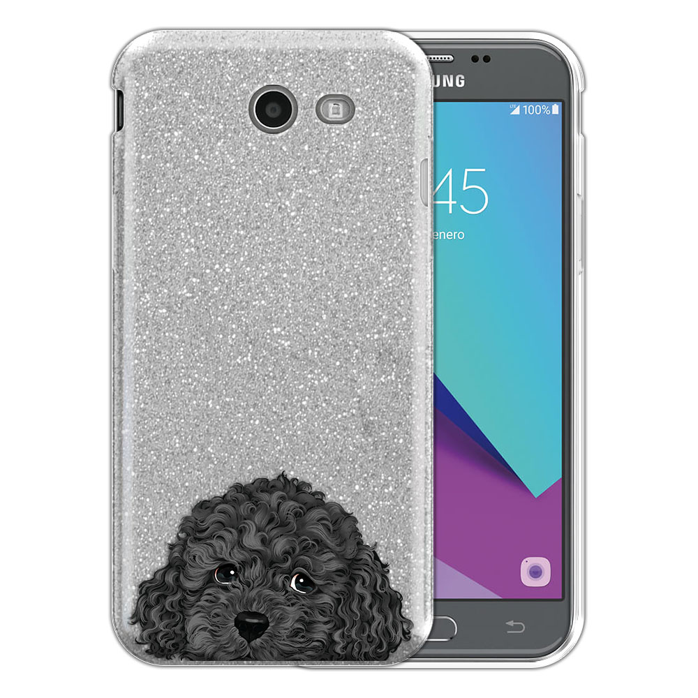 Hybrid Silver Glitter Clear Fusion Gray Toy Poodle Protector Cover Case for Samsung Galaxy J3 J327 2017 2nd Gen Galaxy J3 Emerge (Not fit for J3 2016, J3 Pro 2017)
