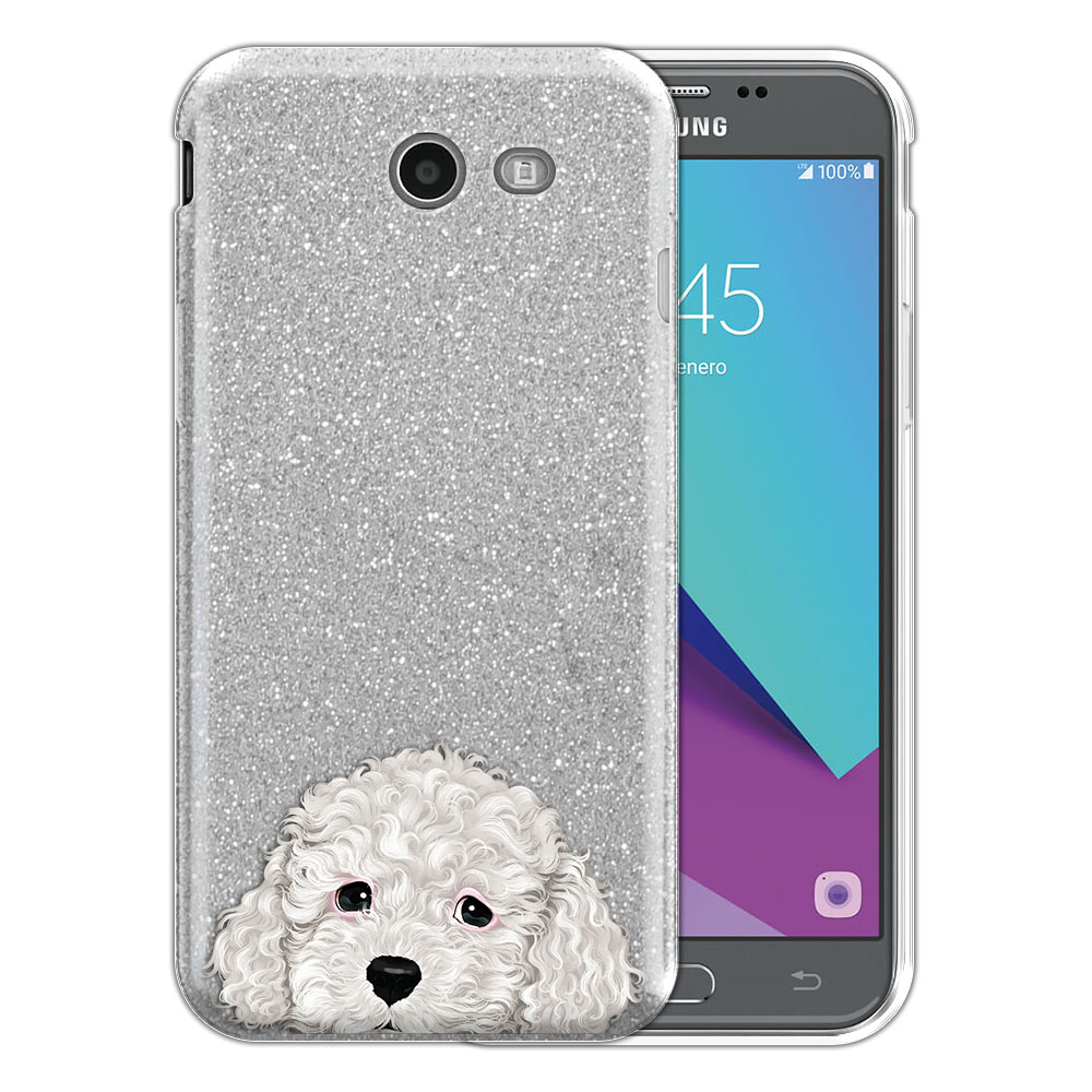 Hybrid Silver Glitter Clear Fusion White Toy Poodle Protector Cover Case for Samsung Galaxy J3 J327 2017 2nd Gen Galaxy J3 Emerge (Not fit for J3 2016, J3 Pro 2017)
