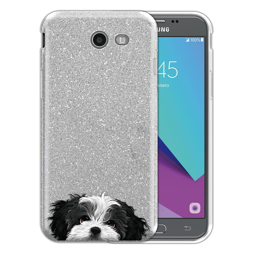 Hybrid Silver Glitter Clear Fusion Black White Shih Tzu Protector Cover Case for Samsung Galaxy J3 J327 2017 2nd Gen Galaxy J3 Emerge (Not fit for J3 2016, J3 Pro 2017)