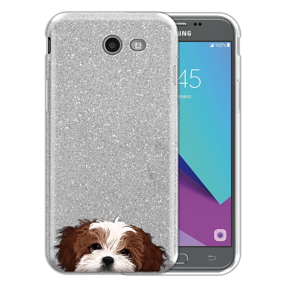 Hybrid Silver Glitter Clear Fusion Brown White Shih Tzu Protector Cover Case for Samsung Galaxy J3 J327 2017 2nd Gen Galaxy J3 Emerge (Not fit for J3 2016, J3 Pro 2017)