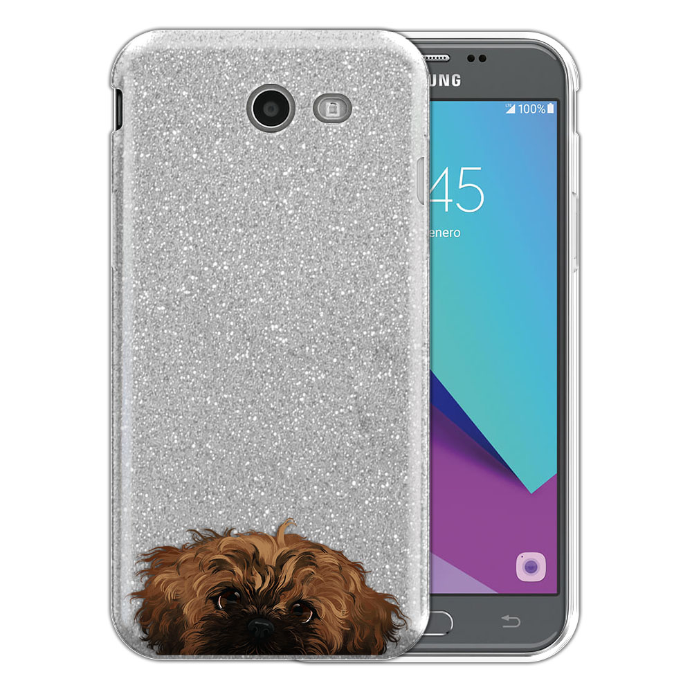 Hybrid Silver Glitter Clear Fusion Fawn Black Mask Shih Tzu Protector Cover Case for Samsung Galaxy J3 J327 2017 2nd Gen Galaxy J3 Emerge (Not fit for J3 2016, J3 Pro 2017)