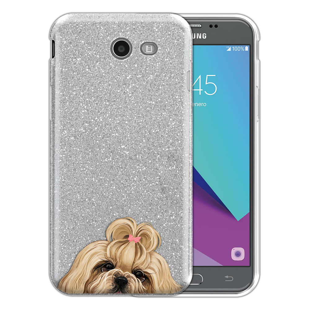 Hybrid Silver Glitter Clear Fusion Gold White Shih Tzu Protector Cover Case for Samsung Galaxy J3 J327 2017 2nd Gen Galaxy J3 Emerge (Not fit for J3 2016, J3 Pro 2017)