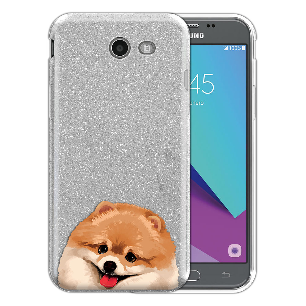 Hybrid Silver Glitter Clear Fusion Fawn Pomeranian Protector Cover Case for Samsung Galaxy J3 J327 2017 2nd Gen Galaxy J3 Emerge (Not fit for J3 2016, J3 Pro 2017)