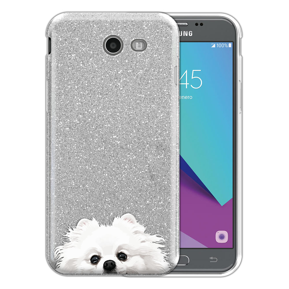 Hybrid Silver Glitter Clear Fusion White Teacup Pomeranian Protector Cover Case for Samsung Galaxy J3 J327 2017 2nd Gen Galaxy J3 Emerge (Not fit for J3 2016, J3 Pro 2017)