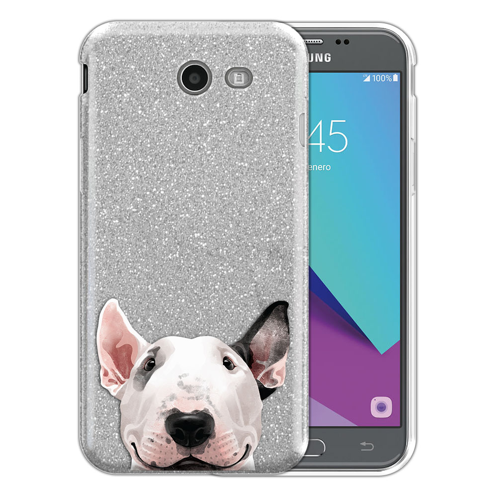Hybrid Silver Glitter Clear Fusion Bull Terrier Protector Cover Case for Samsung Galaxy J3 J327 2017 2nd Gen Galaxy J3 Emerge (Not fit for J3 2016, J3 Pro 2017)