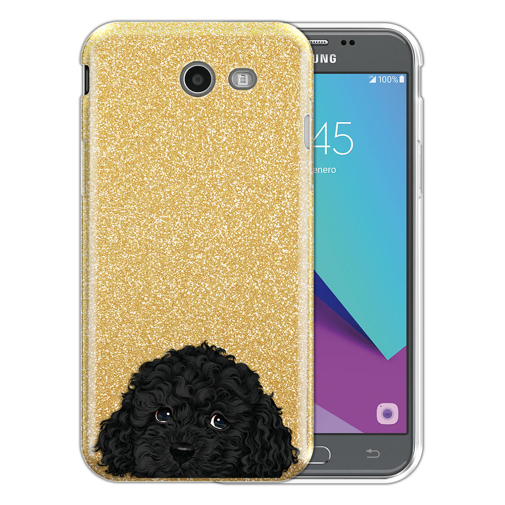 Hybrid Gold Glitter Clear Fusion Black Toy Poodle Protector Cover Case for Samsung Galaxy J3 J327 2017 2nd Gen Galaxy J3 Emerge (Not fit for J3 2016, J3 Pro 2017)