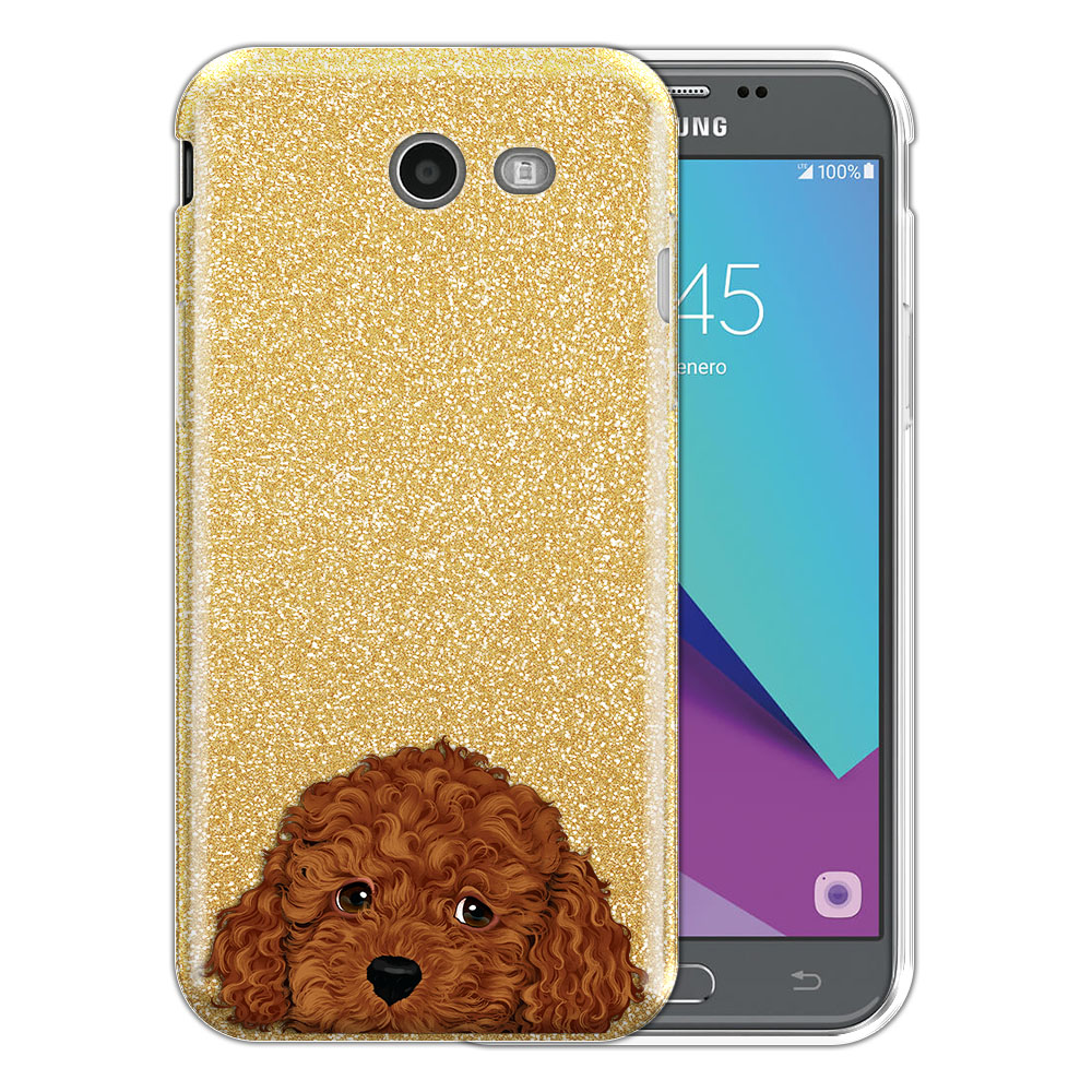 Hybrid Gold Glitter Clear Fusion Brown Toy Poodle Protector Cover Case for Samsung Galaxy J3 J327 2017 2nd Gen Galaxy J3 Emerge (Not fit for J3 2016, J3 Pro 2017)