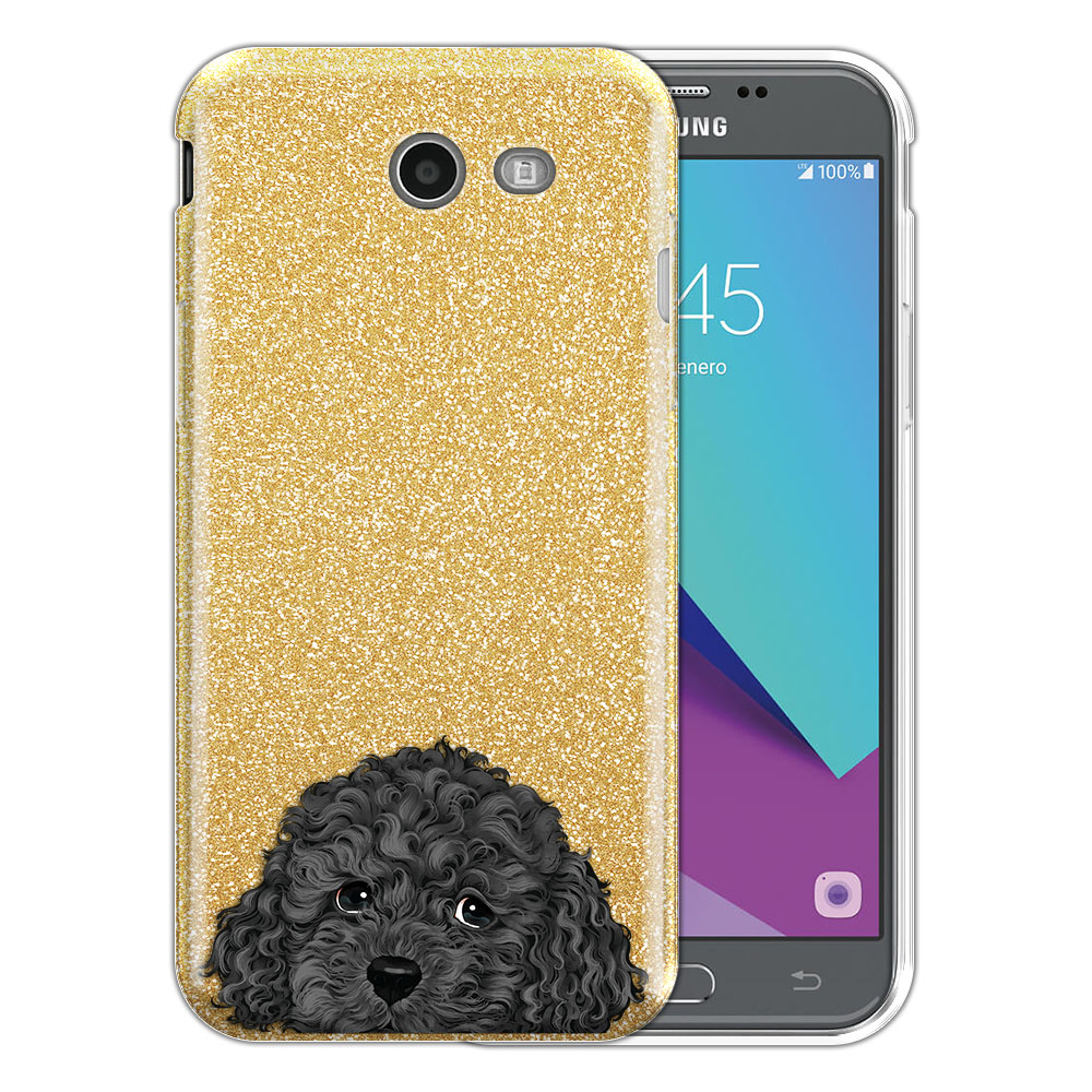 Hybrid Gold Glitter Clear Fusion Gray Toy Poodle Protector Cover Case for Samsung Galaxy J3 J327 2017 2nd Gen Galaxy J3 Emerge (Not fit for J3 2016, J3 Pro 2017)