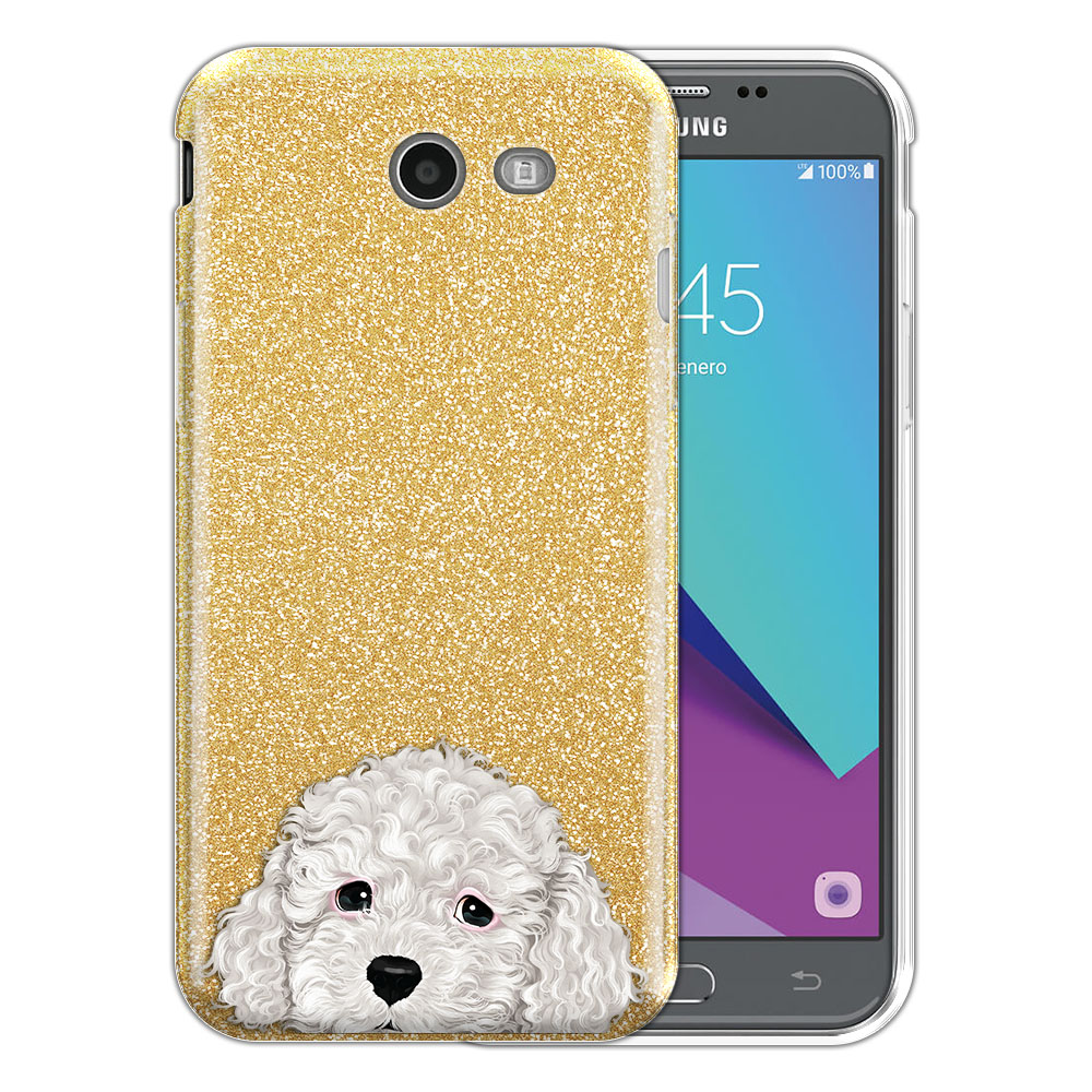 Hybrid Gold Glitter Clear Fusion White Toy Poodle Protector Cover Case for Samsung Galaxy J3 J327 2017 2nd Gen Galaxy J3 Emerge (Not fit for J3 2016, J3 Pro 2017)