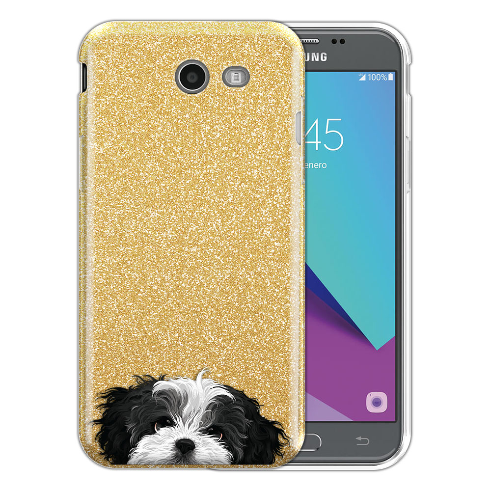 Hybrid Gold Glitter Clear Fusion Black White Shih Tzu Protector Cover Case for Samsung Galaxy J3 J327 2017 2nd Gen Galaxy J3 Emerge (Not fit for J3 2016, J3 Pro 2017)