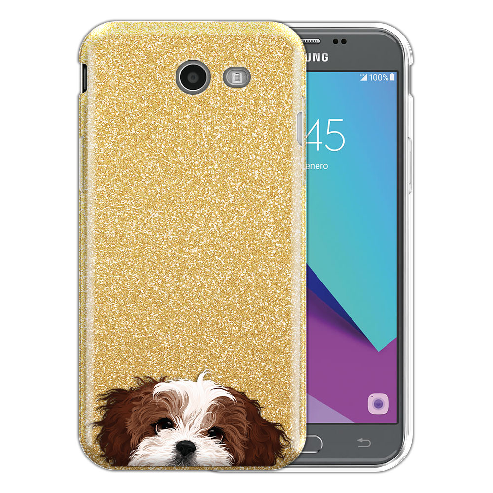 Hybrid Gold Glitter Clear Fusion Brown White Shih Tzu Protector Cover Case for Samsung Galaxy J3 J327 2017 2nd Gen Galaxy J3 Emerge (Not fit for J3 2016, J3 Pro 2017)