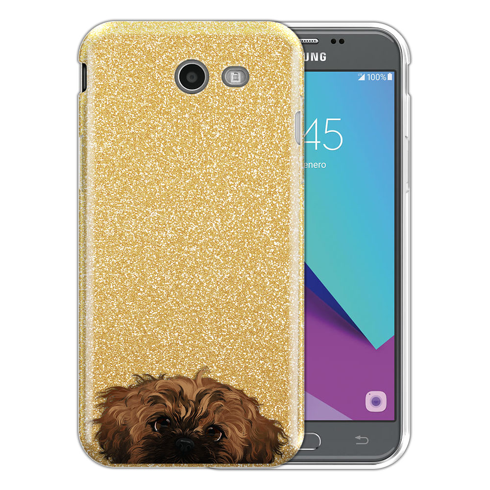 Hybrid Gold Glitter Clear Fusion Fawn Black Mask Shih Tzu Protector Cover Case for Samsung Galaxy J3 J327 2017 2nd Gen Galaxy J3 Emerge (Not fit for J3 2016, J3 Pro 2017)