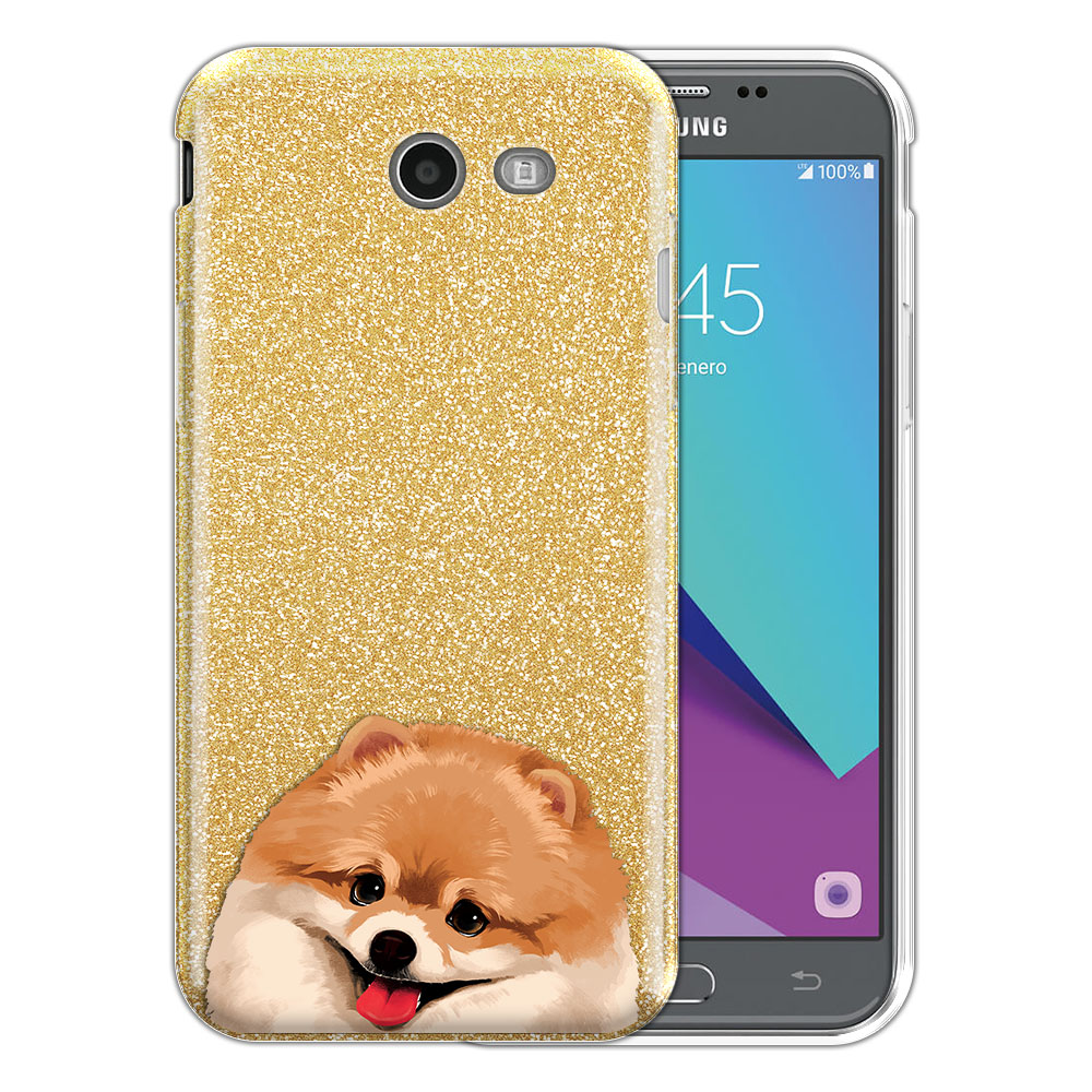 Hybrid Gold Glitter Clear Fusion Fawn Pomeranian Protector Cover Case for Samsung Galaxy J3 J327 2017 2nd Gen Galaxy J3 Emerge (Not fit for J3 2016, J3 Pro 2017)
