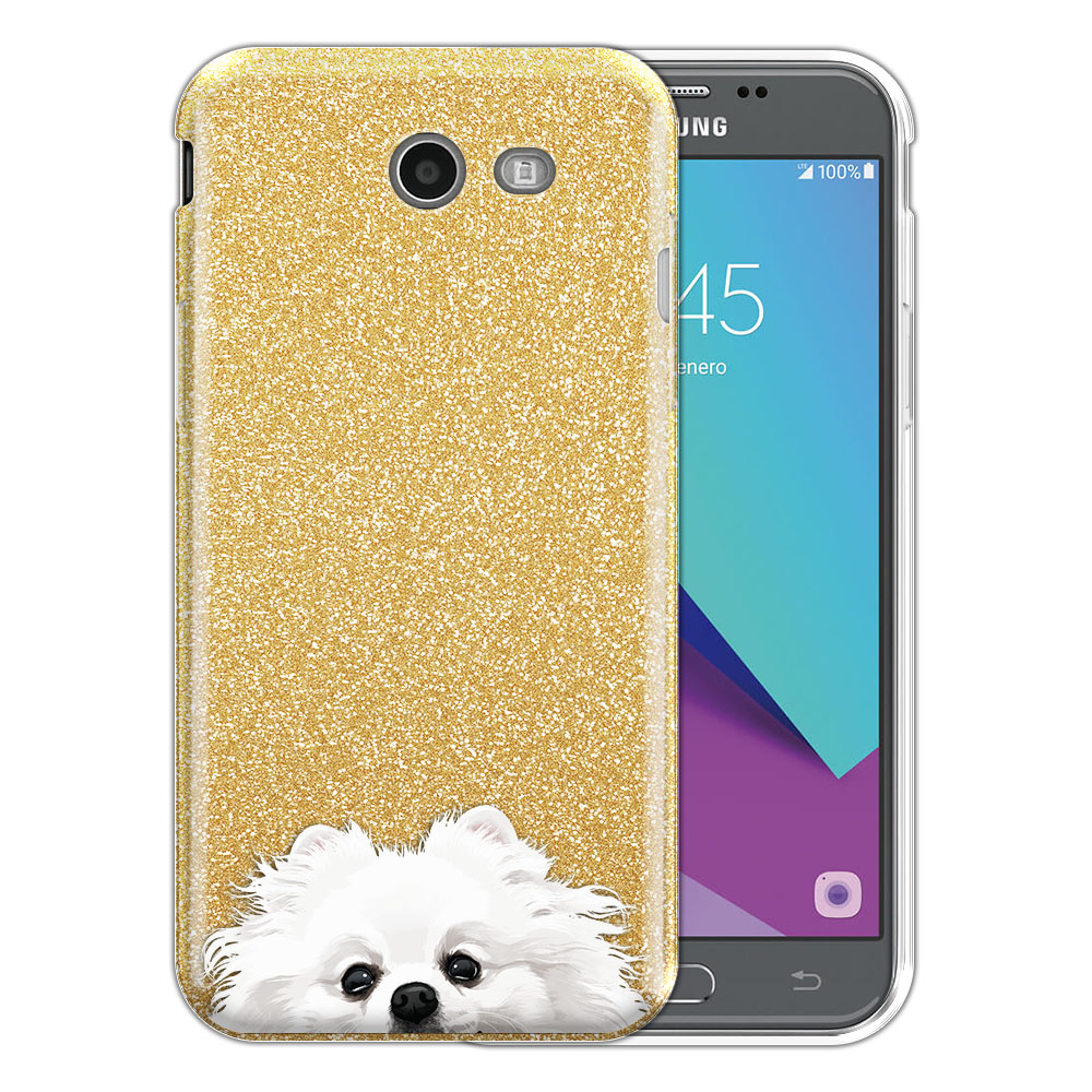 Hybrid Gold Glitter Clear Fusion White Teacup Pomeranian Protector Cover Case for Samsung Galaxy J3 J327 2017 2nd Gen Galaxy J3 Emerge (Not fit for J3 2016, J3 Pro 2017)