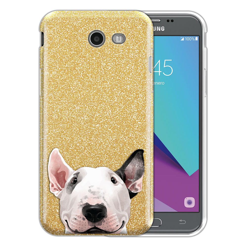 Hybrid Gold Glitter Clear Fusion Bull Terrier Protector Cover Case for Samsung Galaxy J3 J327 2017 2nd Gen Galaxy J3 Emerge (Not fit for J3 2016, J3 Pro 2017)