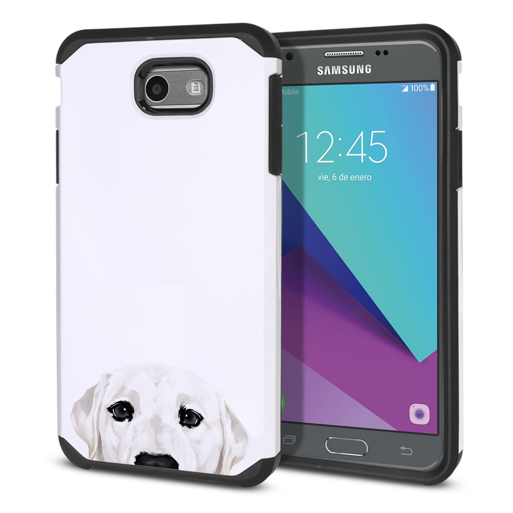 Hybrid Slim Fusion White Labrador Retriever Dog Protector Cover Case for Samsung Galaxy J3 J327 2017 2nd Gen Galaxy J3 Emerge (Not fit for J3 2016, J3 Pro 2017)