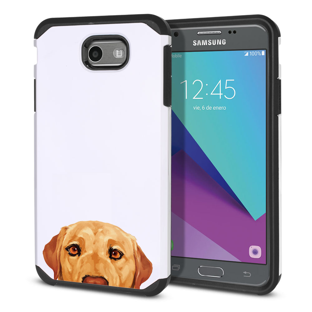 Hybrid Slim Fusion Yellow Labrador Retriever Dog Protector Cover Case for Samsung Galaxy J3 J327 2017 2nd Gen Galaxy J3 Emerge (Not fit for J3 2016, J3 Pro 2017)