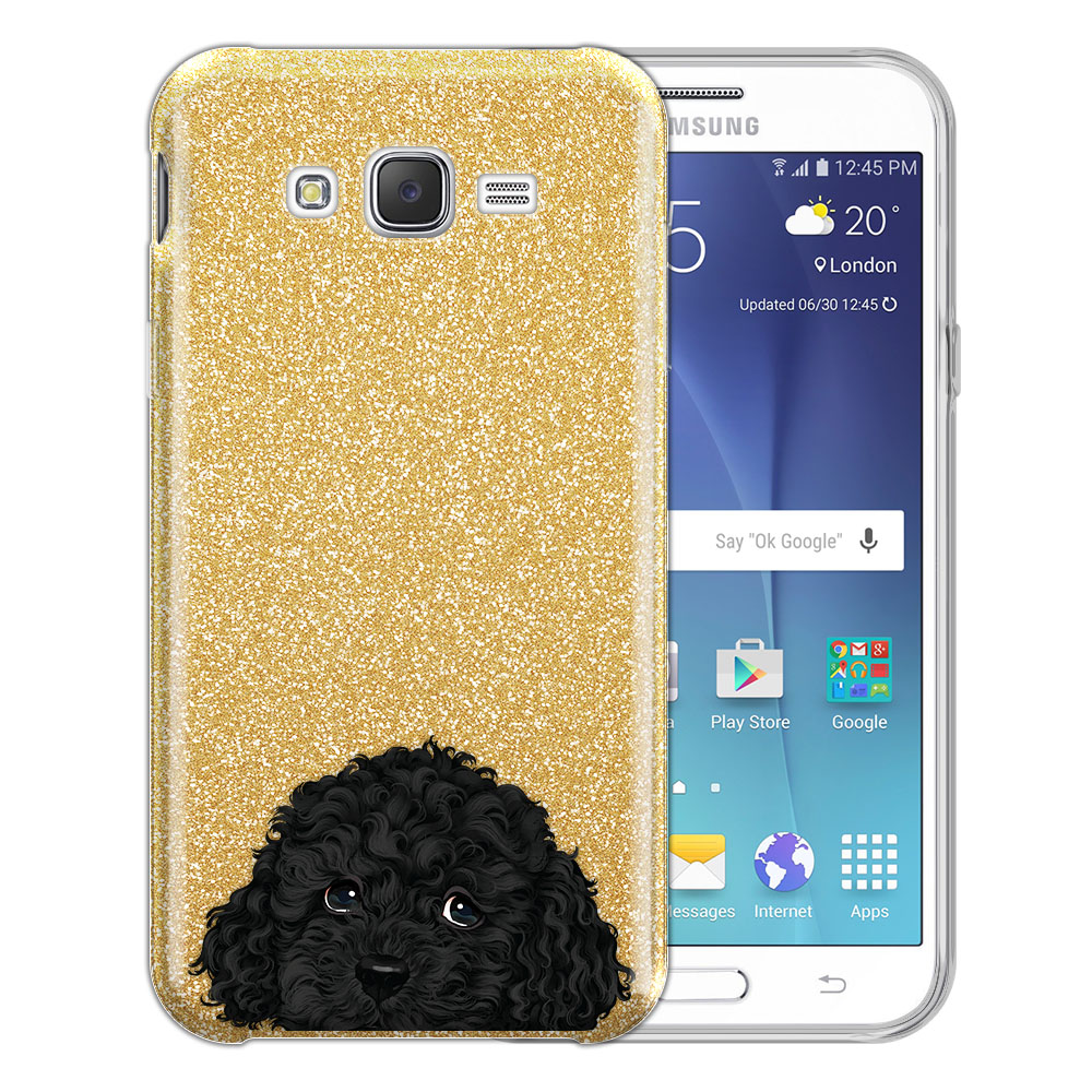 Hybrid Gold Glitter Clear Fusion Black Toy Poodle Protector Cover Case for Samsung Galaxy J7 J700