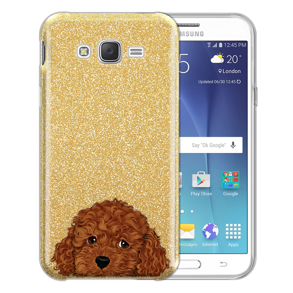 Hybrid Gold Glitter Clear Fusion Brown Toy Poodle Protector Cover Case for Samsung Galaxy J7 J700