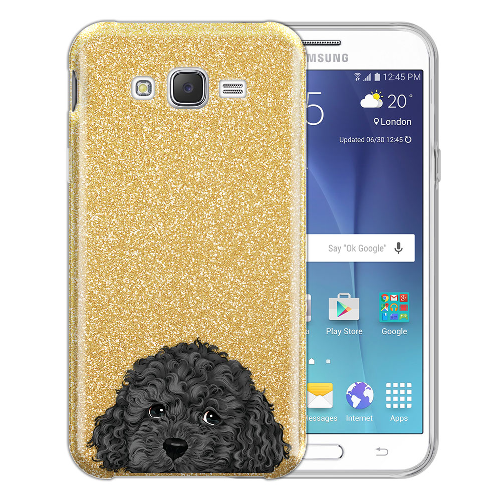 Hybrid Gold Glitter Clear Fusion Gray Toy Poodle Protector Cover Case for Samsung Galaxy J7 J700