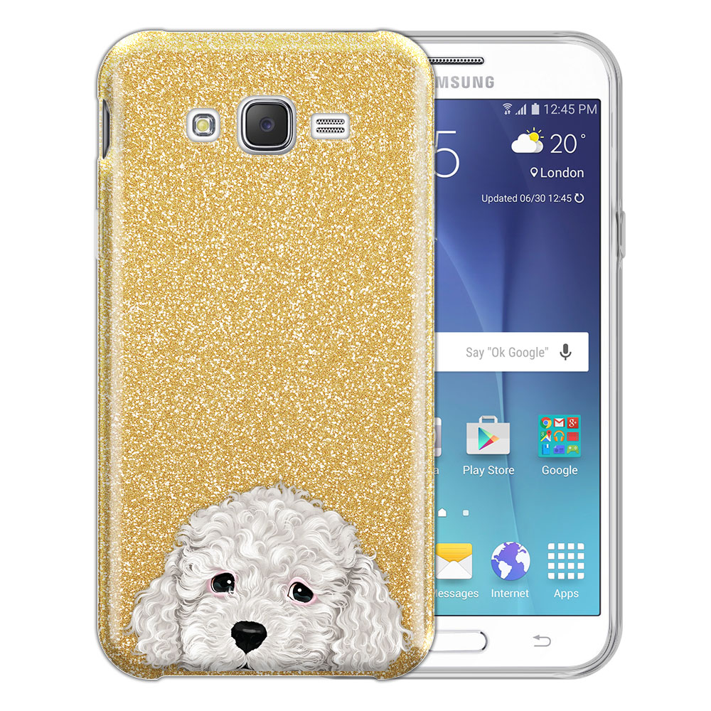 Hybrid Gold Glitter Clear Fusion White Toy Poodle Protector Cover Case for Samsung Galaxy J7 J700