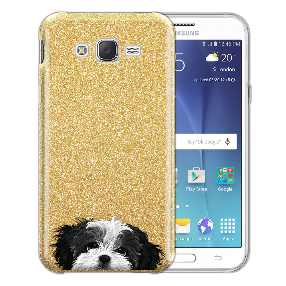 Hybrid Gold Glitter Clear Fusion Black White Shih Tzu Protector Cover Case for Samsung Galaxy J7 J700