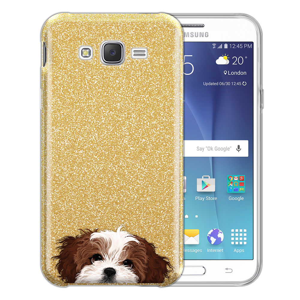 Hybrid Gold Glitter Clear Fusion Brown White Shih Tzu Protector Cover Case for Samsung Galaxy J7 J700