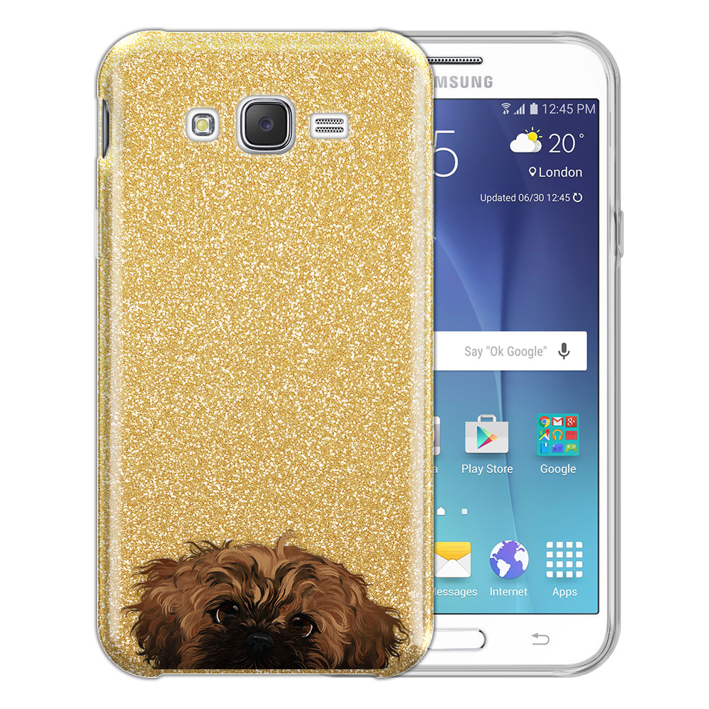 Hybrid Gold Glitter Clear Fusion Fawn Black Mask Shih Tzu Protector Cover Case for Samsung Galaxy J7 J700