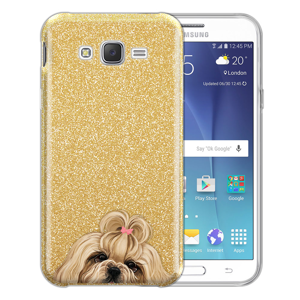 Hybrid Gold Glitter Clear Fusion Gold White Shih Tzu Protector Cover Case for Samsung Galaxy J7 J700