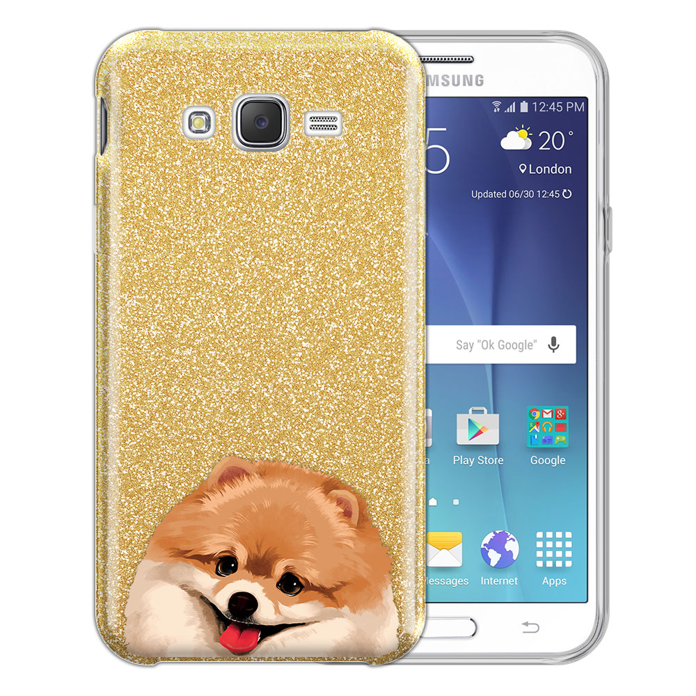 Hybrid Gold Glitter Clear Fusion Fawn Pomeranian Protector Cover Case for Samsung Galaxy J7 J700