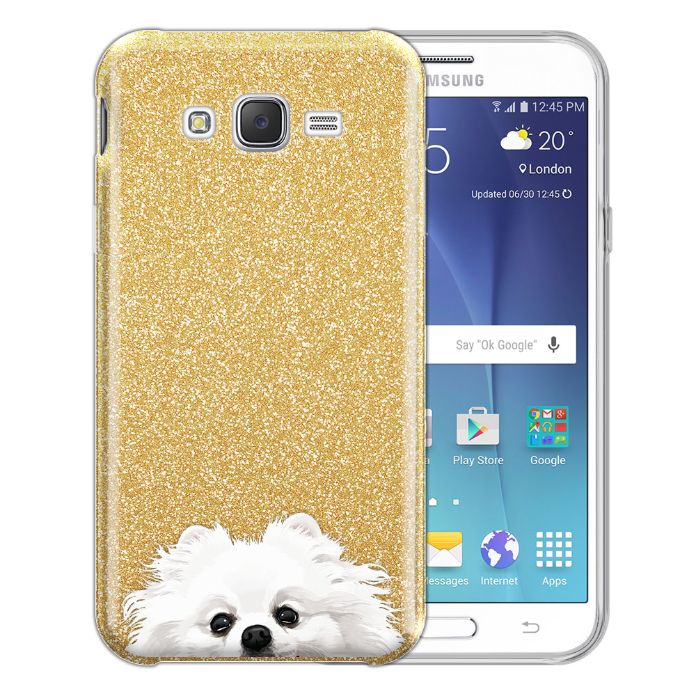 Hybrid Gold Glitter Clear Fusion White Teacup Pomeranian Protector Cover Case for Samsung Galaxy J7 J700