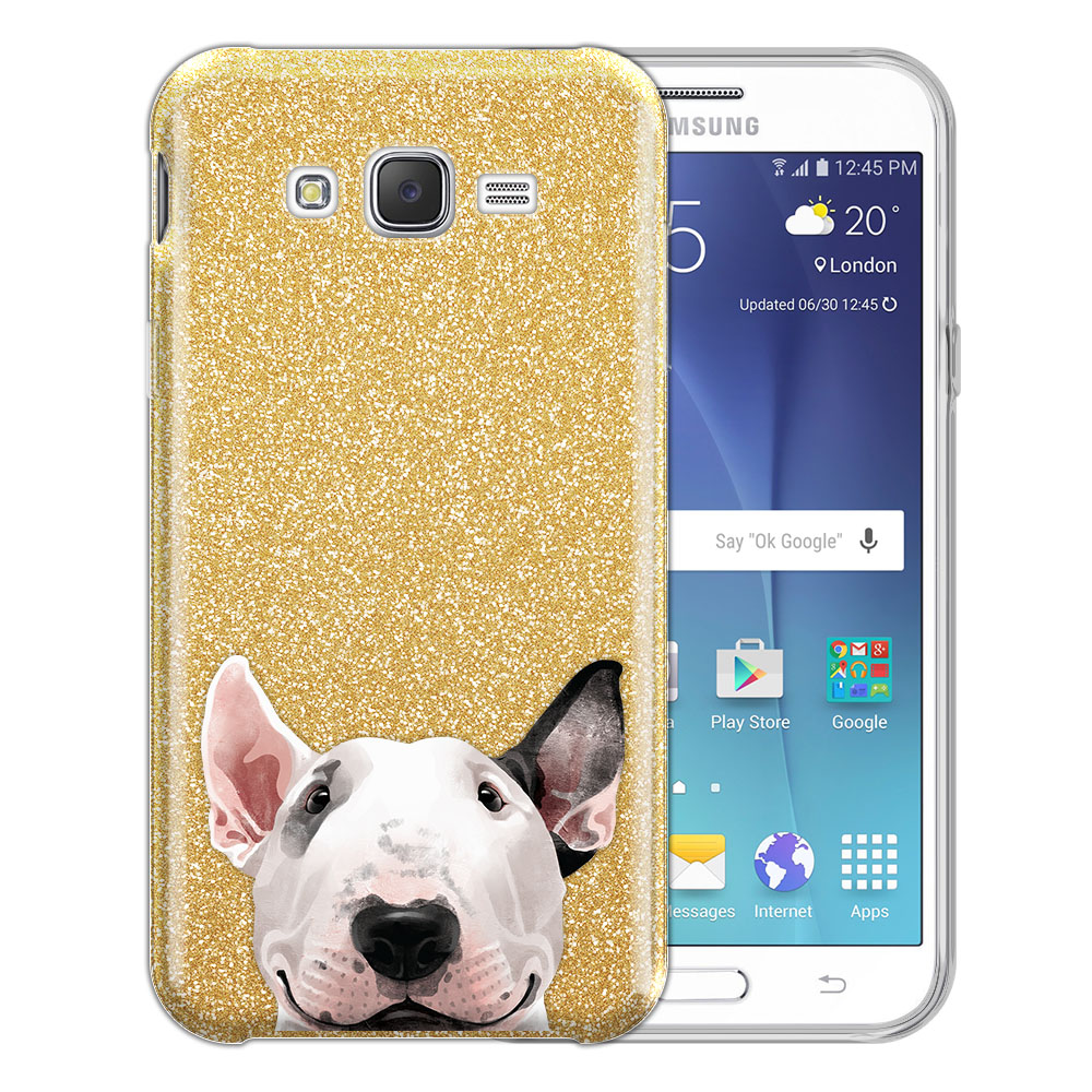 Hybrid Gold Glitter Clear Fusion Bull Terrier Protector Cover Case for Samsung Galaxy J7 J700