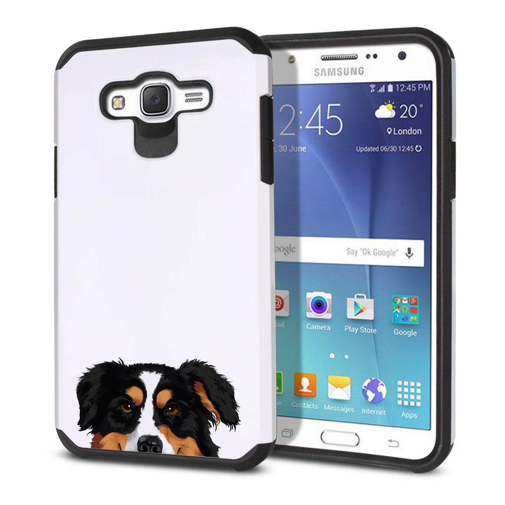 Hybrid Slim Fusion Black Tricolor Aussie Australian Shepherd Dog Protector Cover Case for Samsung Galaxy J7 J700