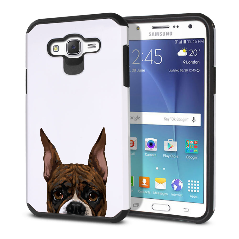 Hybrid Slim Fusion Brindle Pattern Boxer Dog Protector Cover Case for Samsung Galaxy J7 J700