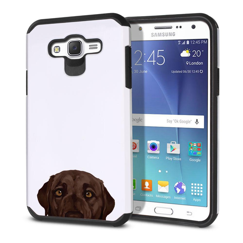 Hybrid Slim Fusion Chocolate Brown Labrador Retriever Dog Protector Cover Case for Samsung Galaxy J7 J700