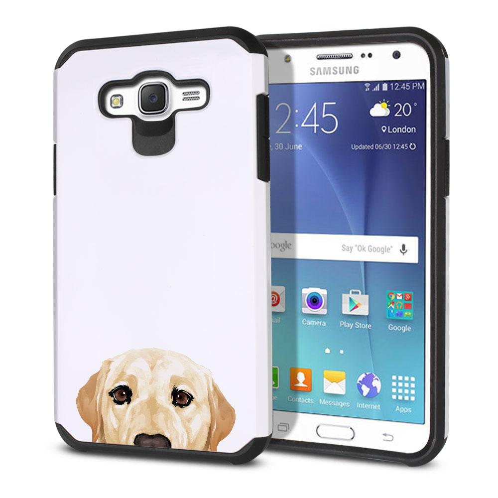 Hybrid Slim Fusion Cream Labrador Retriever Dog Protector Cover Case for Samsung Galaxy J7 J700