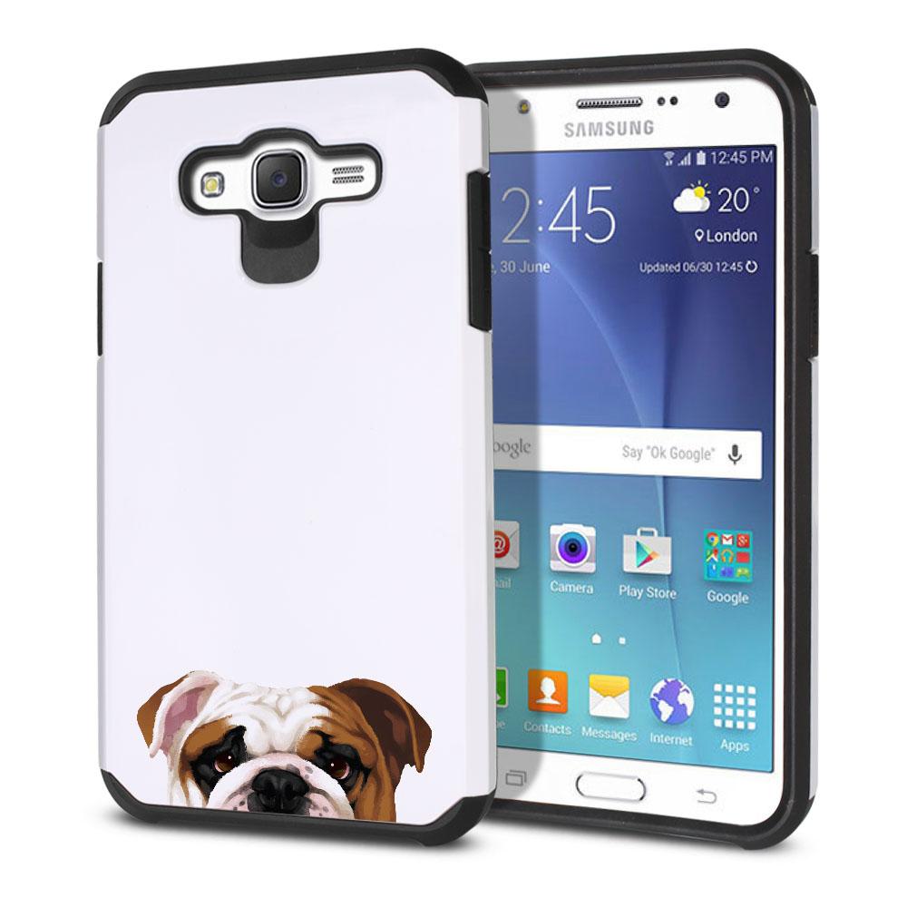 Hybrid Slim Fusion English Bulldog Protector Cover Case for Samsung Galaxy J7 J700