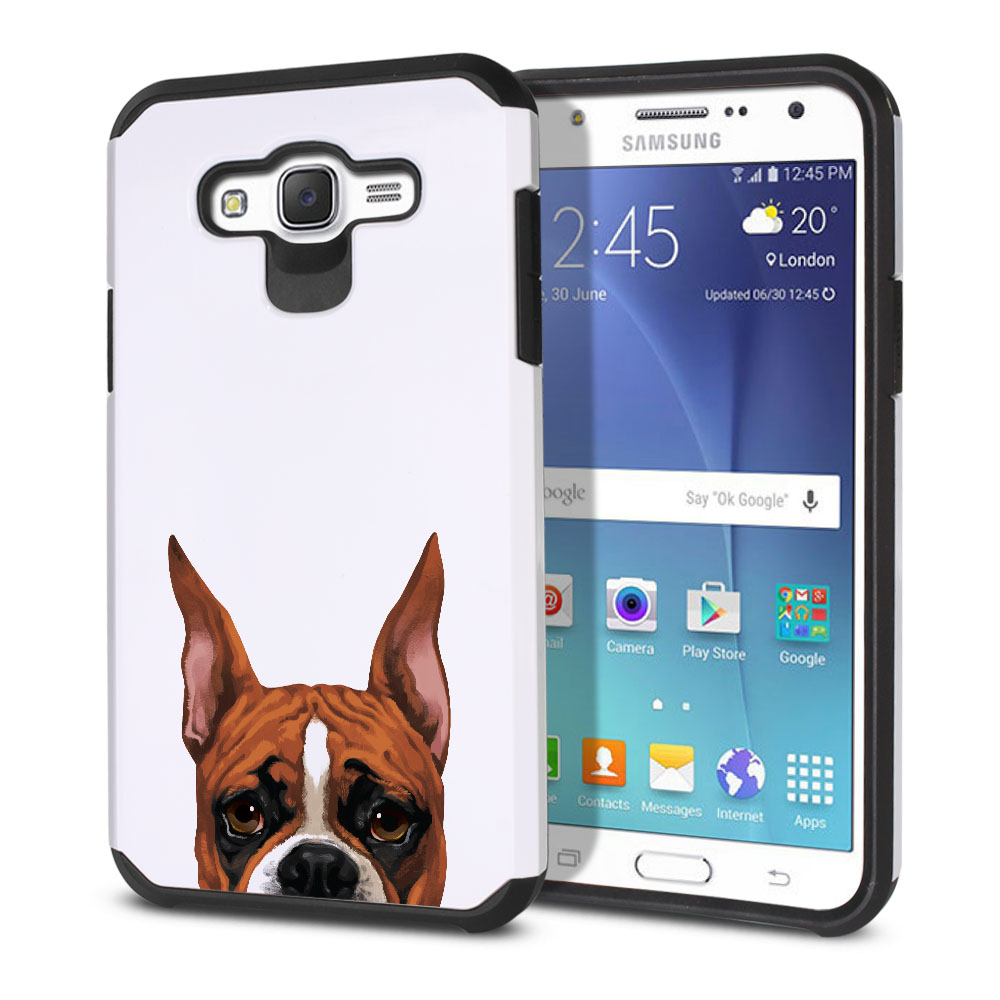 Hybrid Slim Fusion Fawn Color Boxer Dog Protector Cover Case for Samsung Galaxy J7 J700