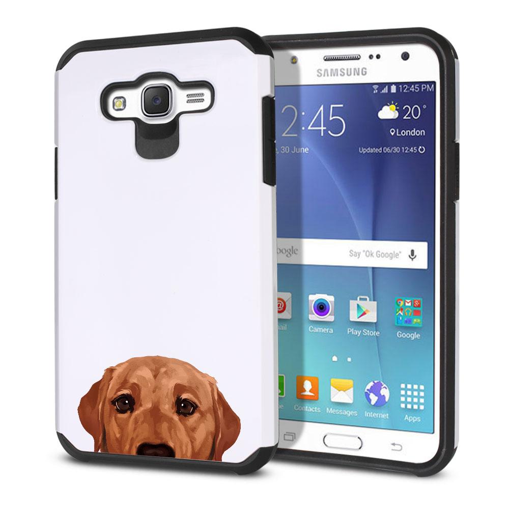 Hybrid Slim Fusion Fox Red Labrador Retriever Dog Protector Cover Case for Samsung Galaxy J7 J700